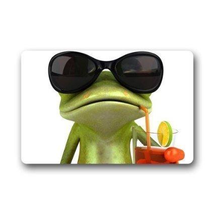 SHoelska Custom Welcome Funny Frog with Glasses Drinking Funny Door Mat Rug Indoor/Outdoor Mats Welcome Doormat Decor Rug (L23.6