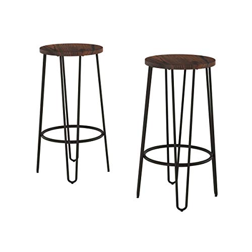 Lavish Home 80-FSTL-9 Bar Height Stools-Backless Barstools with Hairpin Legs Wood Seat-Kitchen or Dining Room- Modern Farmhouse Accent Furniture (Set of 2)