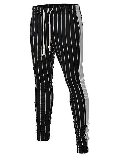 (Casual Side Panel Pin Stripe Drawstring Ankle Zipper Track Pants Black White S)