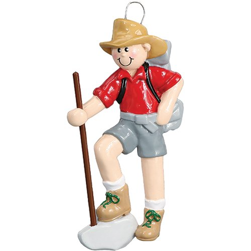 Personalized Hiker Boy Christmas Tree Ornament 2019 - Nature Lover Active Walking Trekking Pole Backpack Group Outdoor Hobby First Cliff Mountain Yosemite Gift Year - Free Customization (Male)