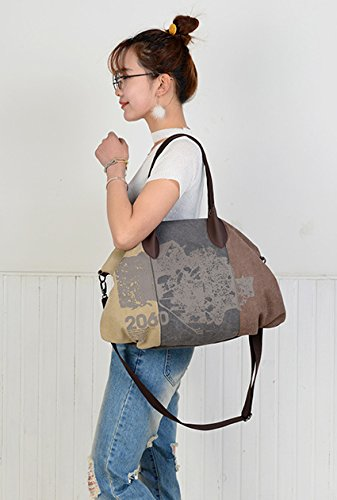 44cmx32cm Travel Casual Bag Shopping Hobo Brown Tote Shoulder Canvas Women's Bag Oversize aOZv6Y