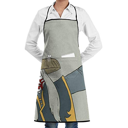 Seuriamin Adult Unisex Professional Kitchen 100% Polyester Bib Apron Kabuki Mask Decoration Old Japanese Person Performing Arts Far Eastern Culture Elements Decorative