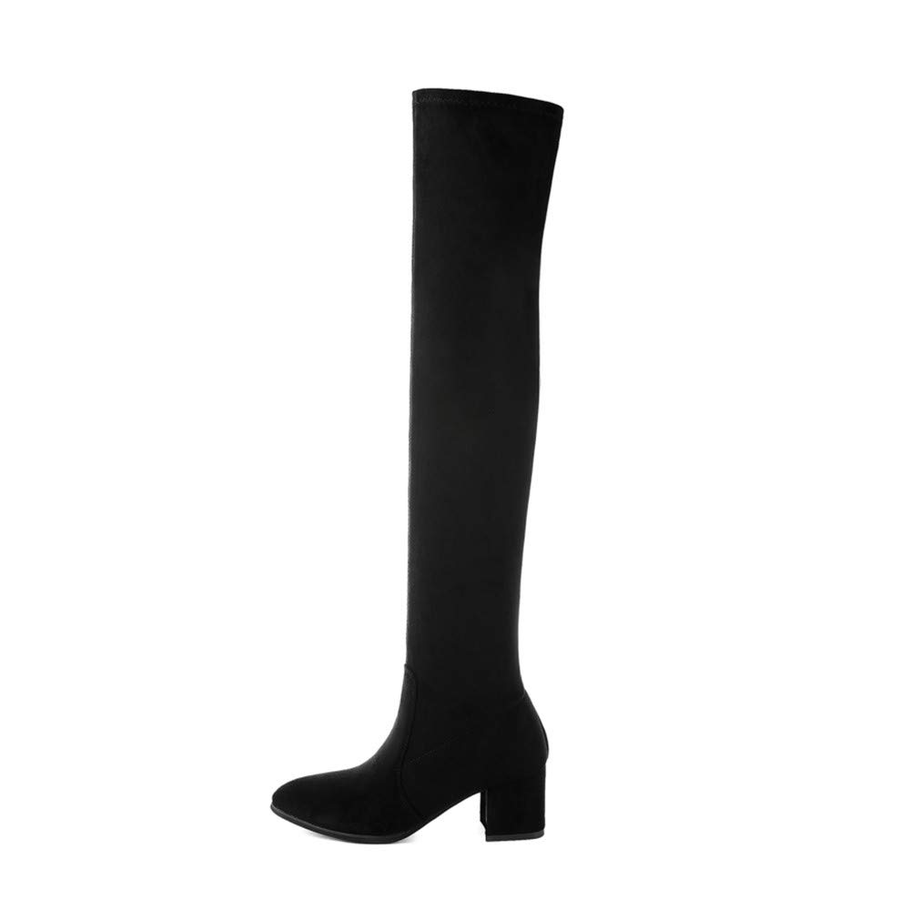 HAOLIEQUAN Schlanke Stiefel Overknee High Suede Damen Stiefel Damenmode Winter Oberschenkel Hohe Stiefel Schuhe Frau