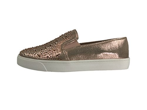 Cool Slip On Sneakers - Trendy Shoes - Comfortable Closed Toe, Rose Gold Crystal, 8.5