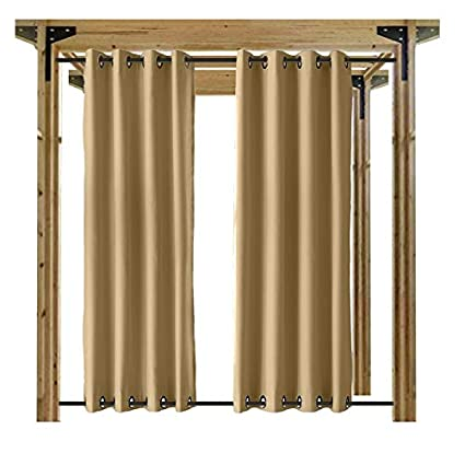 Cololeaf Outdoor Curtains For Patio Waterproof 108 Inches Solid Cabana With  Grommet At Top And Bottom
