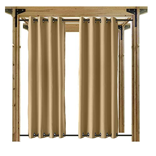 cololeaf Outdoor Curtains Patio Extra Wide Waterproof Curtain Panels Grommet at top Bottom Porch, Gazebo, Pergola, Cabana, Dock, Beach Home,Wheat 150W x 96L inch (1 (Wheat Bamboo Curtain)