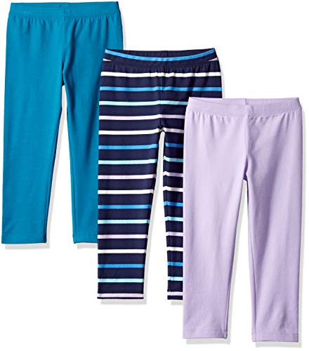 Amazon Essentials Little Girls' 3-Pack Capri Legging, Crystal Teal/Multi Stripe Navy/Lilac Breeze, M ()