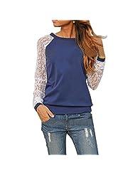 Lowpricenice(TM) Women Lady Fashion Lace O-Neck Hooded Sweatshirt Casual Long Sleeve Jacket Coat Blouse Tops