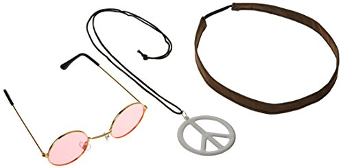 Hippie Kit (Includes: Eyeglasses, Headband & Necklace) Party Accessory  (1 count) (1/Pkg) (60s Accessories)