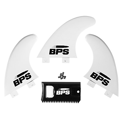 BPS Thruster Fin Set - 3pc Fiberglass Reinforced Surf Board Fins with FCS G5 M5 Style - Surfing Fins with Screw Hardware and Wax Comb (White)