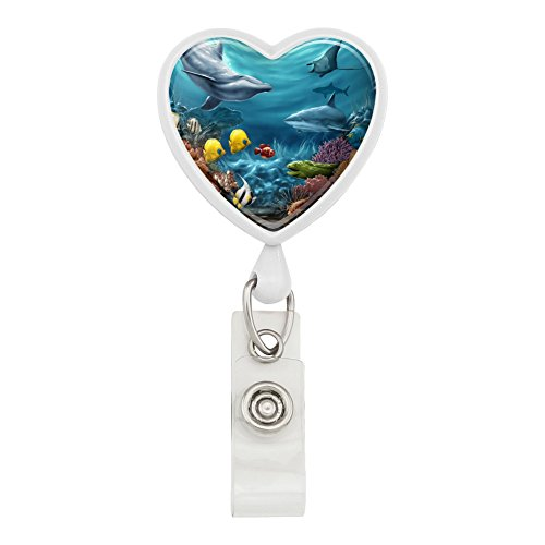 Coral Reef Ocean Scene Dolphin Turtle Shark Stingray Fish Heart Lanyard Retractable Reel Badge ID Card Holder - White ()