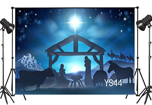LB 9x6ft Nativity of Jesus in Stable Bethlehem Three Wisemen Camels Desert Thin Vinyl Photography Backdrop Divine Light Decorative Customized Photo Background Photo Shot Studio Prop YS44