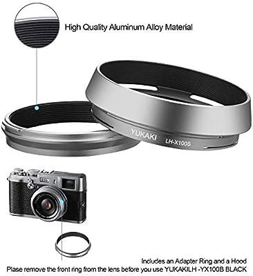 LH-X100 Silver YUKAKI Lens Hood Shade for Fuji Fujifilm Finepix X100F X100T Camera X100S X100 Replaces Fujifilm LH-X100 Lens Hood