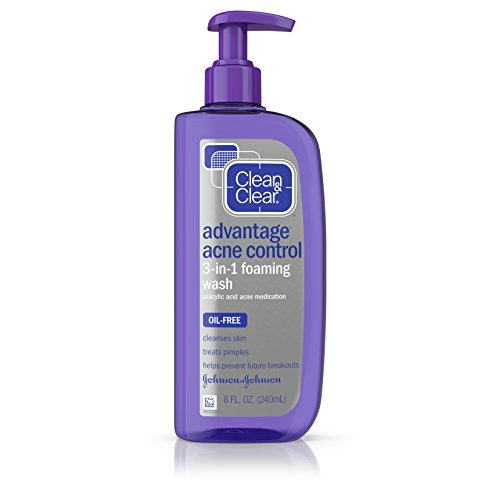 Clean & Clear Advantage Acne Control 3-in-1 Foaming Face Wash with Maximum Strength Salicylic Acid Acne Medicine, Oil-Free & Non-Comedogenic for Acne-Prone Skin Care, 8 fl. oz Clean Clear Continuous Control Acne Wash
