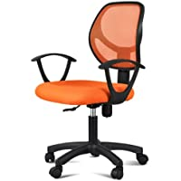 Yaheetech Adjustable Mid-Back Swivel Office Desk Chair (Orange, Style 1)