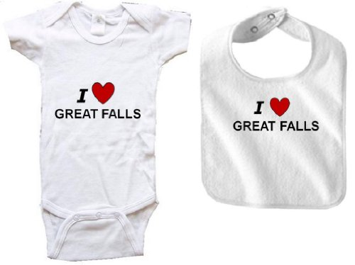 I LOVE GREAT FALLS - GREAT FALLS BABY - 2 Piece Baby-Set - City-series - White Baby One Piece Bodysuit / Baby T-shirt and White Bib - size Newborn (0-6M) Battle 4 Piece Body