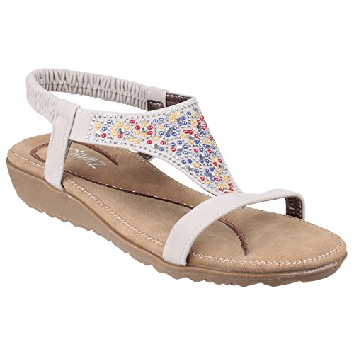 Divaz Womens/Ladies Nicosia Elasticated T Bar Sandal White