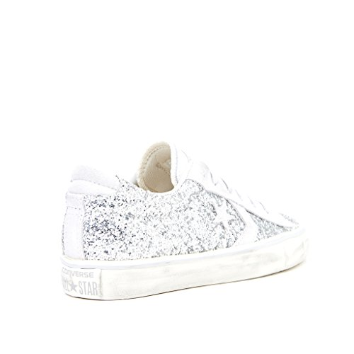 SNEAKERS CONVERSE DONNA pro leather vulc distressed PELLE ARGENTO