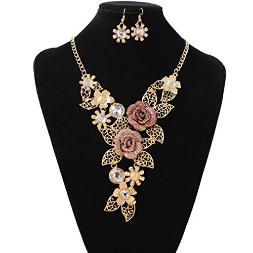 Womens Vintage Flower Necklace Statement Earrings Jewelry Set