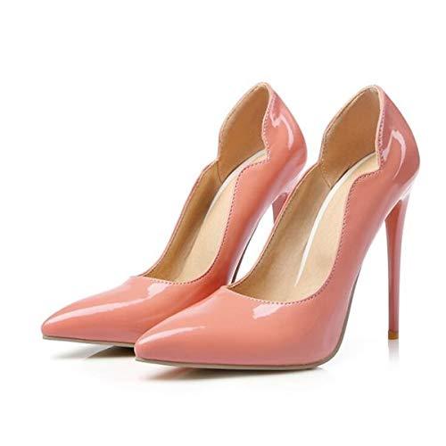 Mince Chaussures Femme Bout Femmes Noir De Printemps Verni Single Mariage Talons Pumps Cuir Pingxiannv Hauts Pointu Pink vxd45wqwAU