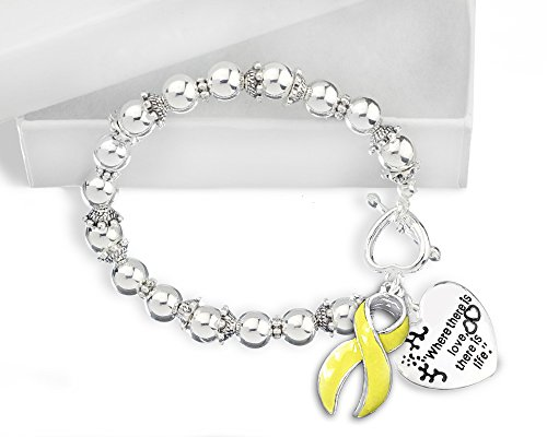 Spina Bifida Awareness ''Where There is Love'' Heart and Yellow Ribbon Charm Silver Beaded Bracelet with Gift Box (1 Bracelet - Retail) by Fundraising For A Cause