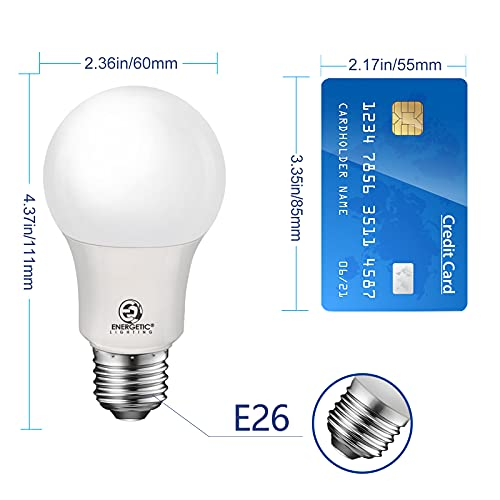 40W Equivalent, A19 LED Light Bulb, 5000K Daylight(Natural White), E26 Standard Base, Non-Dimmable, 450lm, UL Listed, 4-Pack