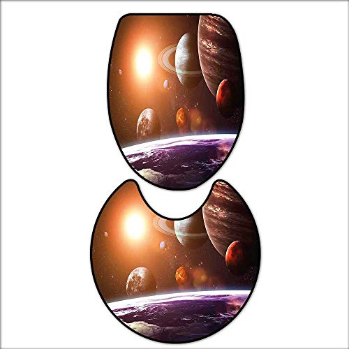 qianhehome Washable Non Slip Bath Mats and Rug Solar System with Planets Outer Space Objects Sun Dark Matter Background for Orange Purple. Sets for Toilet mat 17''x21''-D24 by qianhehome