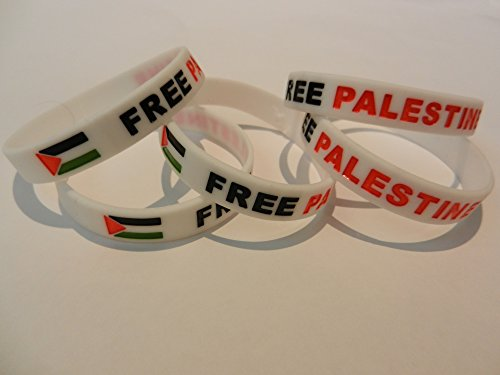 Five Flag White Free Palestinian Silicone Unisex Bracelet Palestine Wristband Flexable