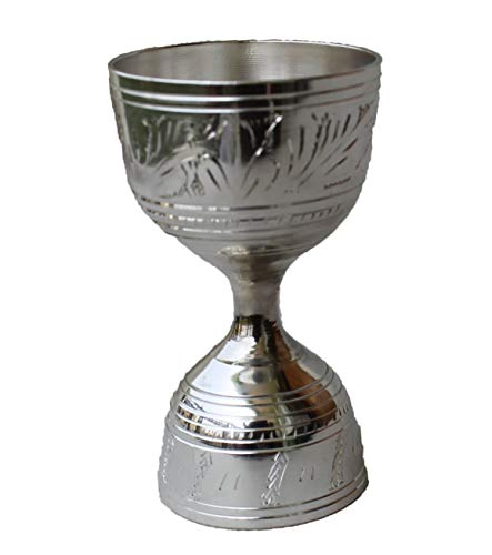 STREET CRAFT Electro Plated Nickel Silver with Chrome Finish Peg Measure Cup Jigger with Alluring Engraving Embossed Silver Finish Made of Brass, 2-Tone Peg Measure Cup, 30 ml / 60 ml Pack of 1 Pcs Price & Reviews