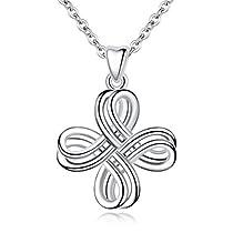 EUDORA Sterling Silver Infinity Love Irish Celtic Knot Pendant Necklace Retro Jewelry, 18 Chain