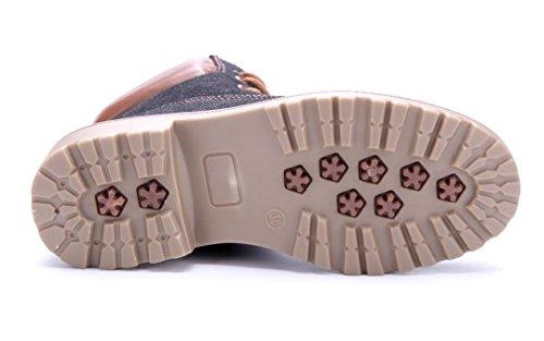 Schuhtempel24 Damen Schuhe Boots Stiefel Stiefeletten Blockabsatz 4 cm Schwarz