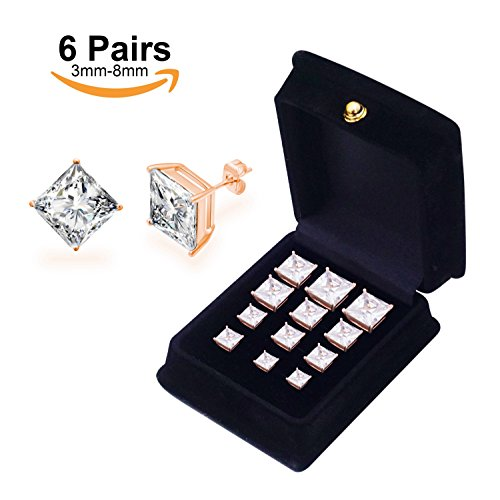 Anni Plated Stainless Steel Princess Clear CZ Pairs
