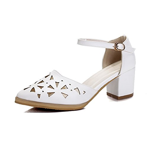 AmoonyFashion Womens PU Kitten-Heels Pointed-Toe Solid Buckle Sandals White GUe0xTjg6s