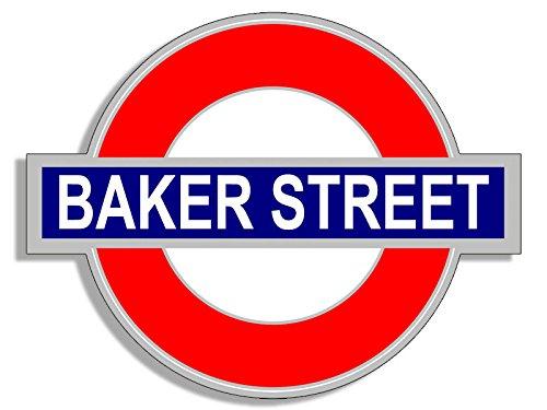Baker Sticker - Tube Sign Shaped BAKER STREET Sticker (uk england underground decal)