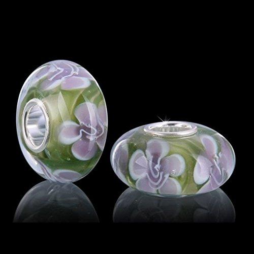 Materia Bijoux Perles Verre de Murano Vert Violet Élément–925Argent Murano perles de verre Perles Fleurs Violet # 1190
