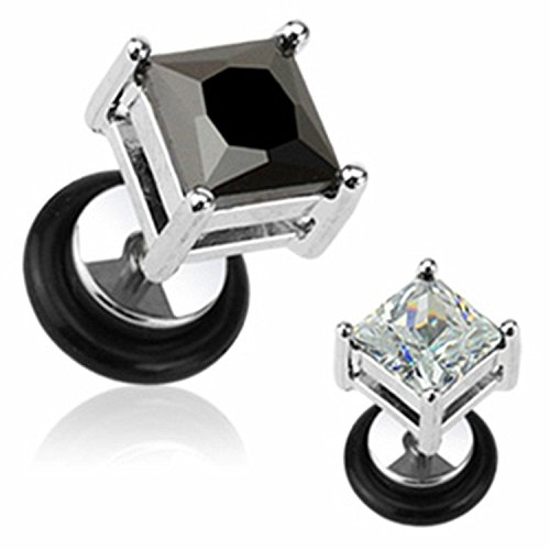 Monroe Square Chandelier - 16G Large Square Diamond Cut CZ 316L Surgical Steel Fake Plugs - Sold as 1 Coordinating Pair (Clear)