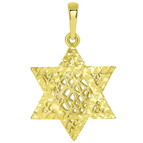 (14k Yellow Gold Textured Filigree 3D Hebrew Star of David Pendant)