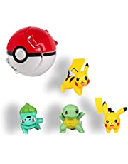 HONGECB Pokemon Mini Figurinesa, Pokémon Poké Ball, pokeball, Pokémon-bollar med figur, Pikachu Jenny sköldpadda leksaksboll, barn vuxna fest fest rolig leksak spelgåva, 4+1 stycken