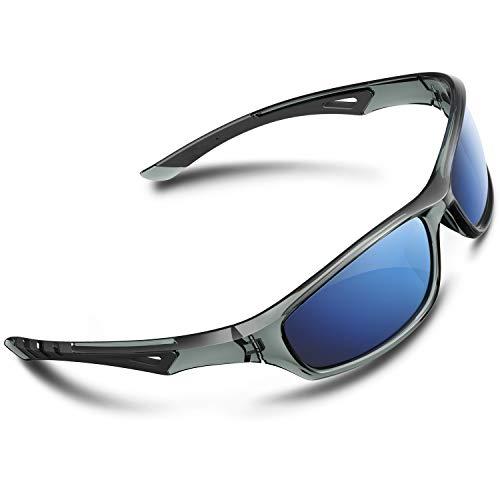 RIVBOS Polarized Sports Sunglasses Driving Glasses Shade for Men Women Tr90 Frame for Cycling Baseball Running 842 (Transparent Gray Blue Lens, Blue Lens)