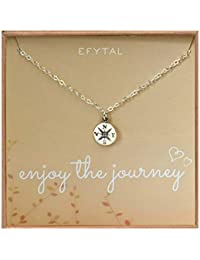Graduation Gifts for Her, Sterling Silver Compass Necklace on Enjoy The Journey Card, New Grad Gift, Jewelry for Travel or Long Distance For Women
