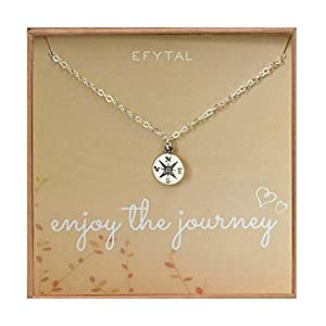 EFYTAL Graduation Gifts for Her, Sterling Silver Compass Necklace on Enjoy The Journey Card, New Grad Gift, Jewelry for…
