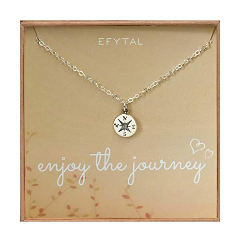 EFYTAL Graduation Gifts for Her, Sterling Silver Compass Necklace on Enjoy The Journey Card, New Grad Gift, Jewelry for Travel or Long Distance For Women (College Pendant Jewelry)
