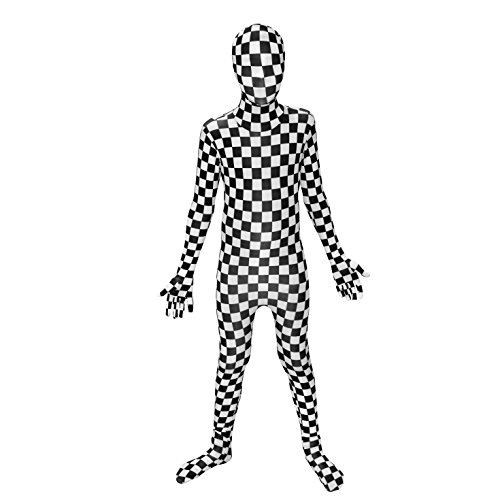 Black and White Check Kids Morphsuit Costume - size Large 4'-4'6 -