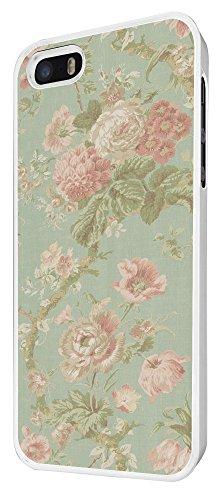 564 - Cute Vintage shabby Chic Floral Roses Pink Design iphone 5 5S Coque Fashion Trend Case Coque Protection Cover plastique et métal - Blanc