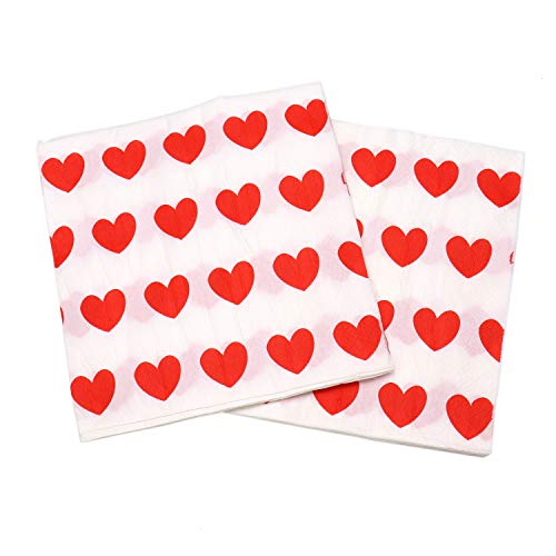 JETEHO 80Pcs Heart Napkins Love Heart Shaped Wedding Napkins Disposable Paper Luncheon Napkins for Wedding Party Decoration