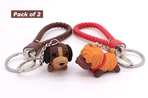 Leather Dog Keychains (AVEC JOIE Dog Keychain for Women Couple key Chain with Leather Key Ring Strap 3D Animal Pendant Car Circle Key Rings Pack of 2)