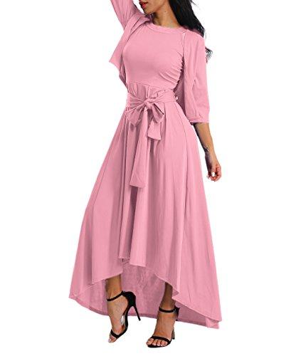 Alinemyer Women's Dress+Cardigan+Belt Halter Sleeveless Swing Maxi Dress Pink XL