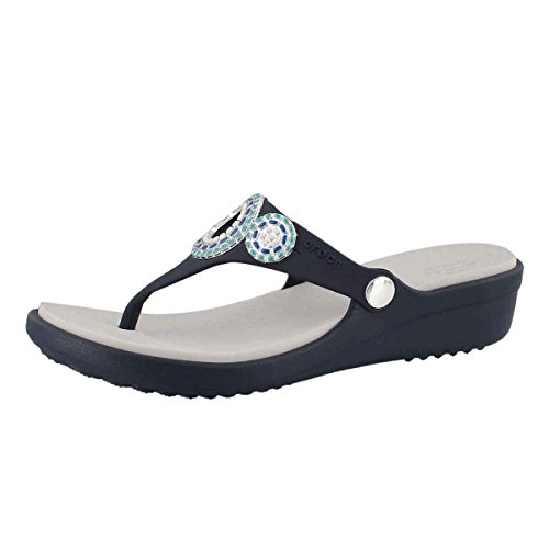 crocs Women's Sanrah Diamante Flip W Wedge Sandal, Navy/Turquoise, 8 M US (Blue Turquoise Sandals)