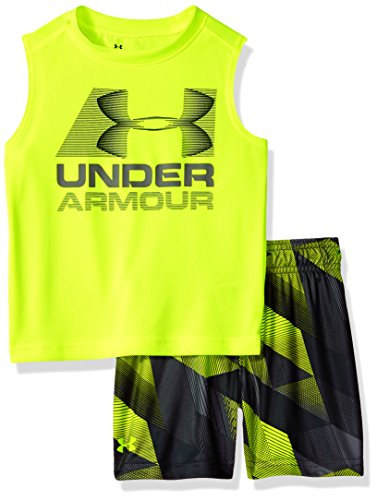 Under Armour Little Boys' UA Muscle Tank and Short Set, Hi Gh/Vis Yellow, 6