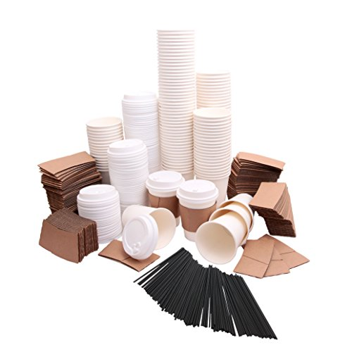 Disposable Coffee Cups with plastic lids, cardboard sleeves and stir straws (125 count) White 12oz, Paper Hot Plastic Travel Lid Office/Party Pack